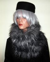 Luxury Grey Fur Snood Scarf